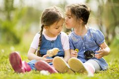 Two little girls with chickens Stock Image