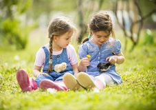 Two little girls with chickens Stock Photos