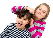 Two little girls combing Stock Image
