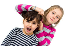 Two little girls combing Royalty Free Stock Photography