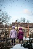 Two little girls in the countryside watching a flock of birds Stock Photos