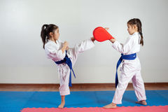 Two little girls demonstrate martial arts working together. Fighting position, active lifestyle, practicing fighting techniques Royalty Free Stock Images
