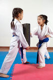 Two little girls demonstrate martial arts working together. Fighting position, active lifestyle, practicing fighting techniques royalty free stock photography
