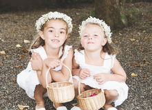 Two little girls dressed for a wedding Stock Photography