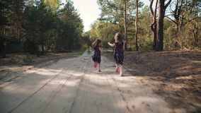 Two little girls are running in the summer forest. Two little girls in dresses are running along a sandy road in the summer forest stock video