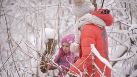 Two little girls are entangled in the snowy forest. Two little sisters wandering in the winter woods stock footage