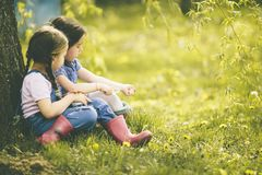 Two little girls at the farm Stock Images