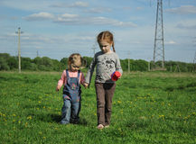 Two little girls go hand in hand. On meadow Royalty Free Stock Photography