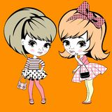 Two little girls gossiping Royalty Free Stock Images