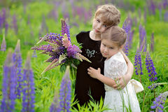 Two little girls at the green field in sunset time, with bouquet. Two little girls in black and white dresses with bouquet at the green field with violet flowers Stock Image