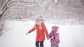 Two little girls having fun walk in the winter woods. stock video footage