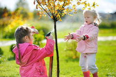 Two little girls helping in a garden Royalty Free Stock Photos
