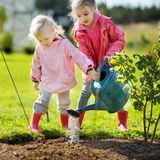 Two little girls helping in a garden Royalty Free Stock Image