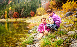 Two little girls hiking on Black Lake ( Crno jezero),Durmitor, M Stock Images
