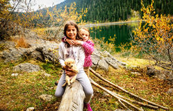 Two little girls hiking on Black Lake ( Crno jezero),Durmitor, M Royalty Free Stock Photo