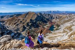 Two little girls hiking on the Mountains in National Park Durmit Royalty Free Stock Photography