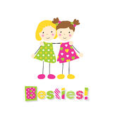 Two little girls holding arms around each other with besties typography. Little blonde girl in a green polka dot dress and brown haired girl in heart pattern Royalty Free Stock Images