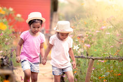 Two little girls holding hand and walking together. In the garden in vintage color tone Royalty Free Stock Photography
