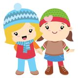Two little girls holding hands. This is a cute little illustrations of two girls holding hands in colorful clothes. All elements are grouped together logically Royalty Free Stock Photography
