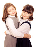 Two little girls hugging.  Royalty Free Stock Images