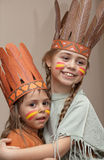 Two little girls in Indian's dresses Royalty Free Stock Image