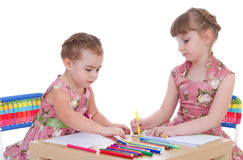 Two little girls in kindergarten Royalty Free Stock Image