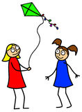 Two little girls with kite. Illustration of two little girls cartoon style playing with a kite isolated on white background Stock Photos