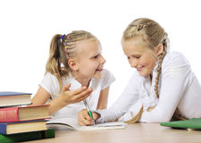 Two little girls learning Stock Photos