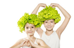 Two little girls with lettuce hair holding hands in heart shape Royalty Free Stock Photography