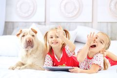 Two little girls lying on the bed with a tablet. Dog. The concep. T of childhood, lifestyle, game royalty free stock photos