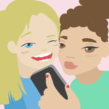 Two little girls making selfie on smartphone illustration Stock Photography