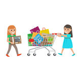 Two Little Girls out on Shopping at Supermarket Stock Photos