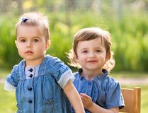 Two little girls outdoor Royalty Free Stock Images