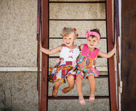 Two little girls outside Stock Image