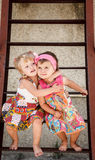 Two little girls outside Stock Photography