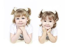 Two Little Girls in Pigtails Royalty Free Stock Images