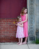 Two Little Girls in Pink Dresses Stock Images