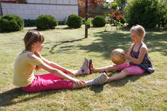 Two little girls playing Royalty Free Stock Photography