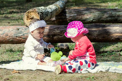 Two little girls playing on the meadow Royalty Free Stock Photography