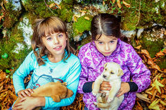 Two little girls playing with puppies in the woods Stock Photography