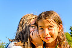 Two little girls playing and whispering secrets in the park. Two little girls are playing and whispering secrets in the park royalty free stock image