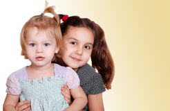 Two little girls portraits Stock Photo