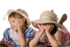 Two little girls quarrelled royalty free stock photo