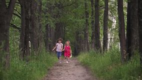 Two little girls running down the green alley and hold hands. friends spend time outdoors. children in nature. slow stock footage