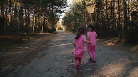 Two little girls are running in the summer forest. Two little girls in dresses are running along the road in the summer forest stock video footage