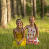 Two little girls sisters pose for the camera in the woods. Walking. Stock Images