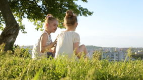 Two little girls sitting on grass talking have fun. HD stock video footage