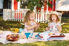 Two little girls sitting on green grass royalty free stock images