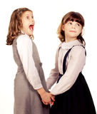 Two little girls surprising Stock Photography