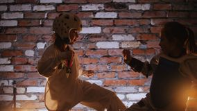 Two little girls training their karate skills. Mid shot stock video